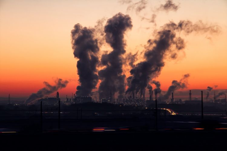 Industry Sunrise Sky Air Pollution factory wallpaper
