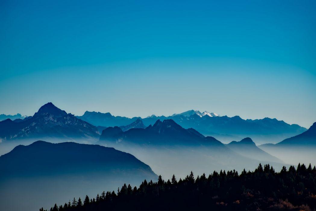France Mountains Fog Mist Sunrise Forest Trees wallpaper