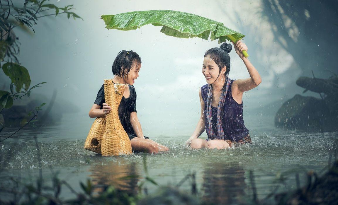 Woman Young Rain Pond Background Pretty Beauty asian wallpaper
