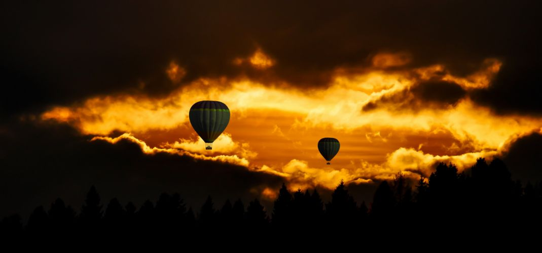 Travel Fly Balloon Sky Sunset Mood Clouds wallpaper