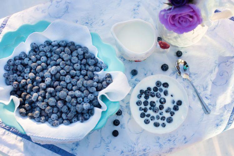 Blueberries Cream Dessert Breakfast Blueberry Food berry wallpaper