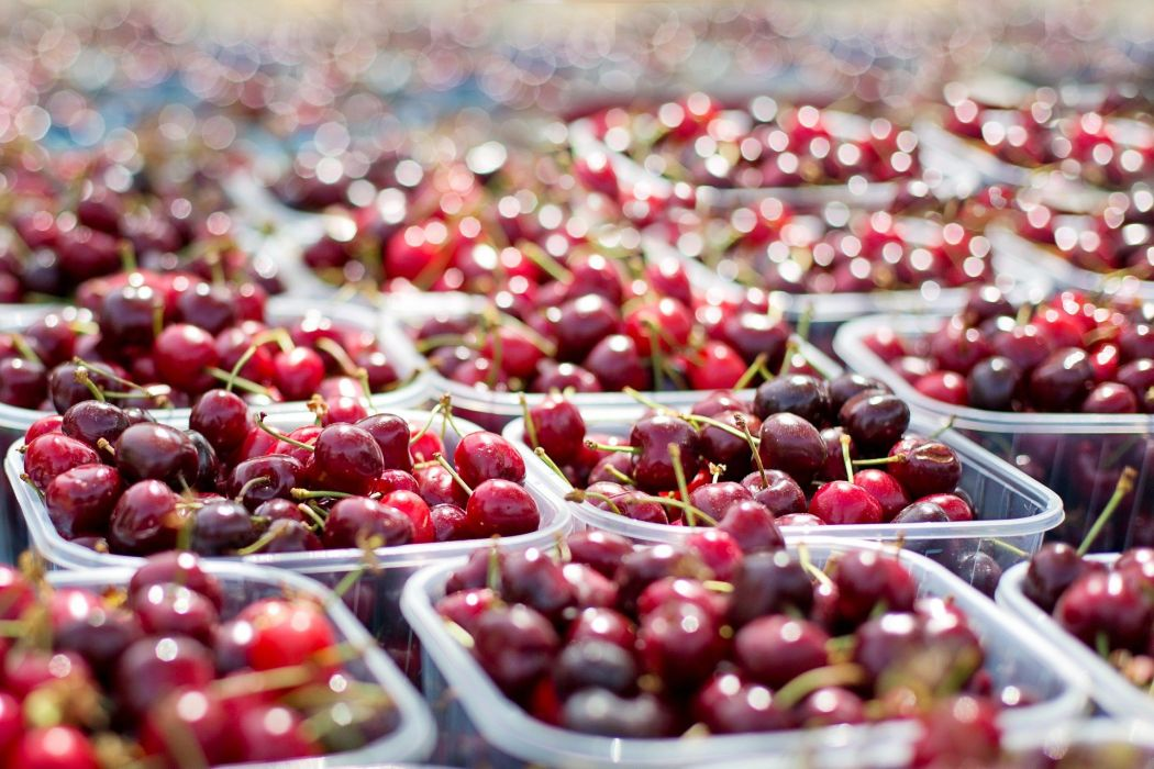 Cherries Tubs Of Cherries Farmer's Market Fruit Red berry wallpaper