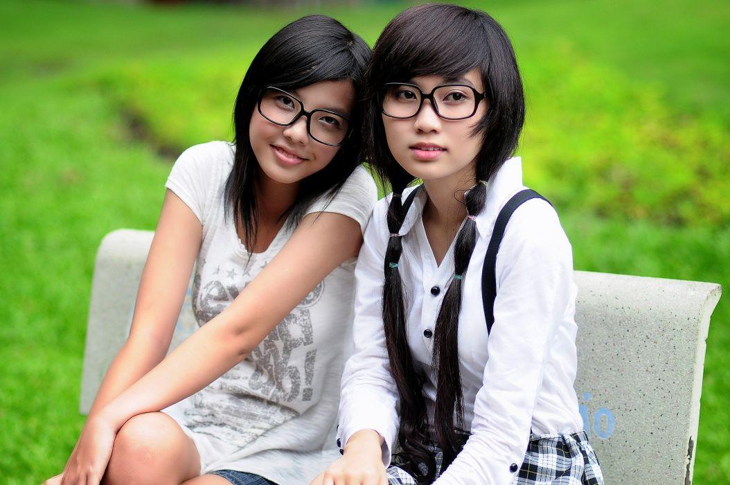 Girl Student Asian Glasses Friends Pretty Girl wallpaper