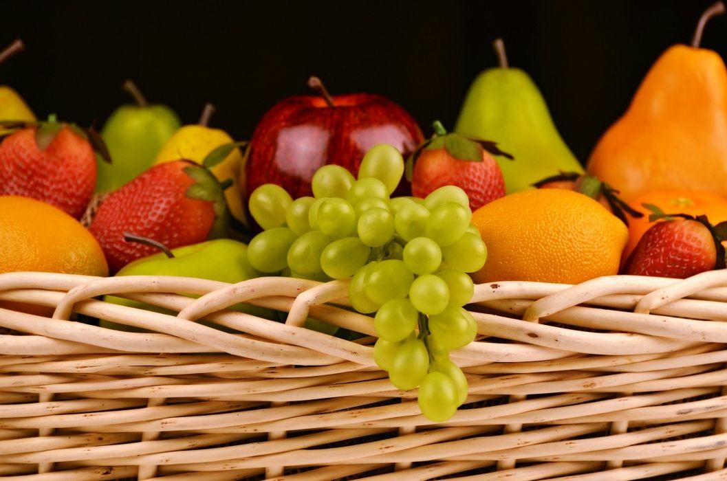 Fruit Basket Grapes Apples Pears Strawberries wallpaper