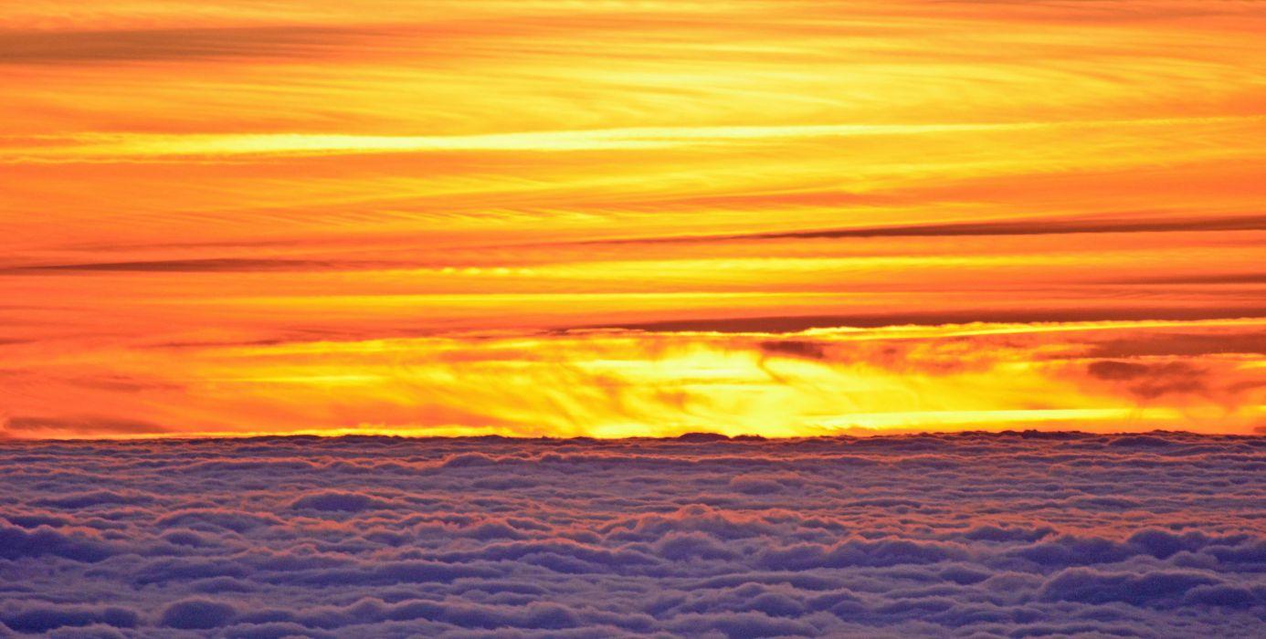Sunset Sun Twilight Clouds Colors Light Fire wallpaper