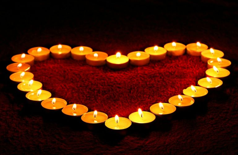 Candles Heart Flame Love Valentine Romance Fire wallpaper