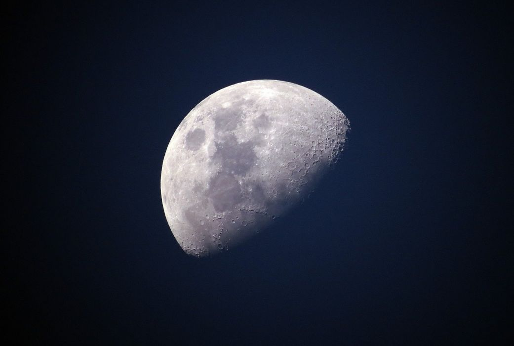 Moon Blue Sky Universe Celestial Lunar Bright space wallpaper