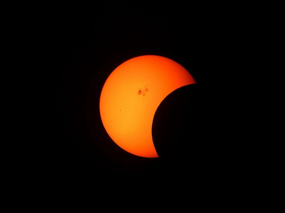 Partial Solar Eclipse Telescope Inverted Cosmos Sun space wallpaper