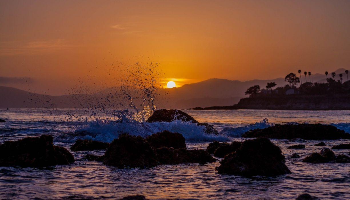 Beach Sunset Sand Ocean Beach Sunset Travel wallpaper