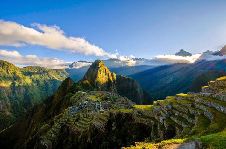 Machu Picchu Ruins Mountains Peru Inca wallpaper