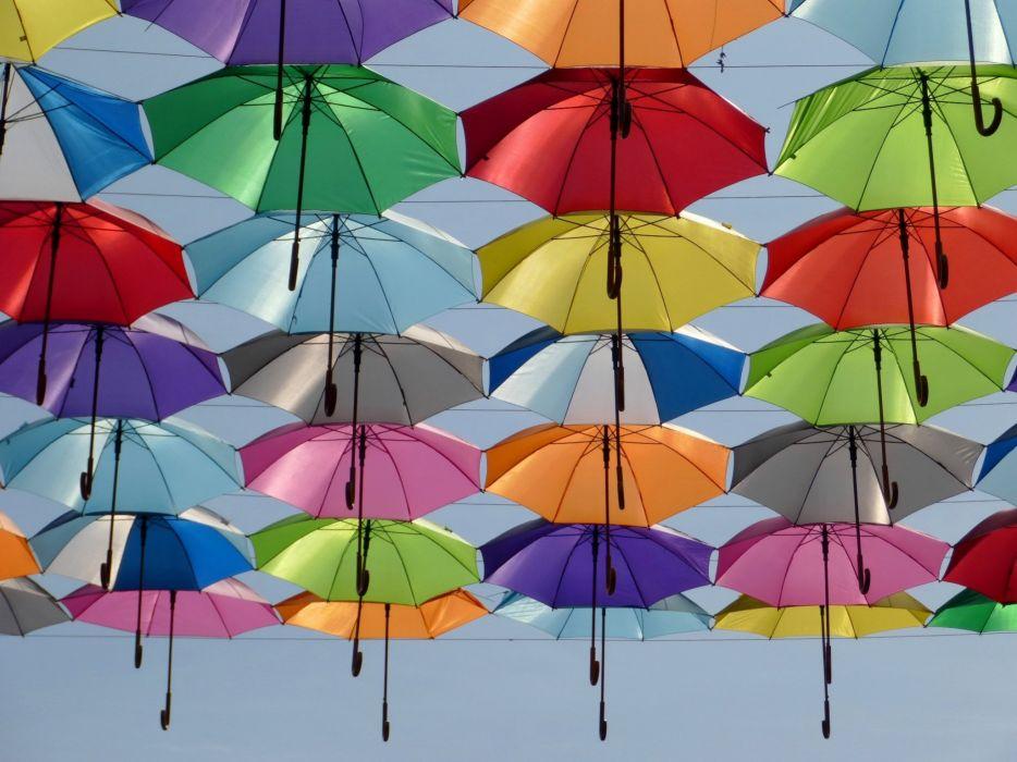 Umbrella Color Red Green Yellow Blue Sky wallpaper