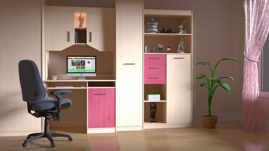 Room Computer Work Indoors Interior design wallpaper