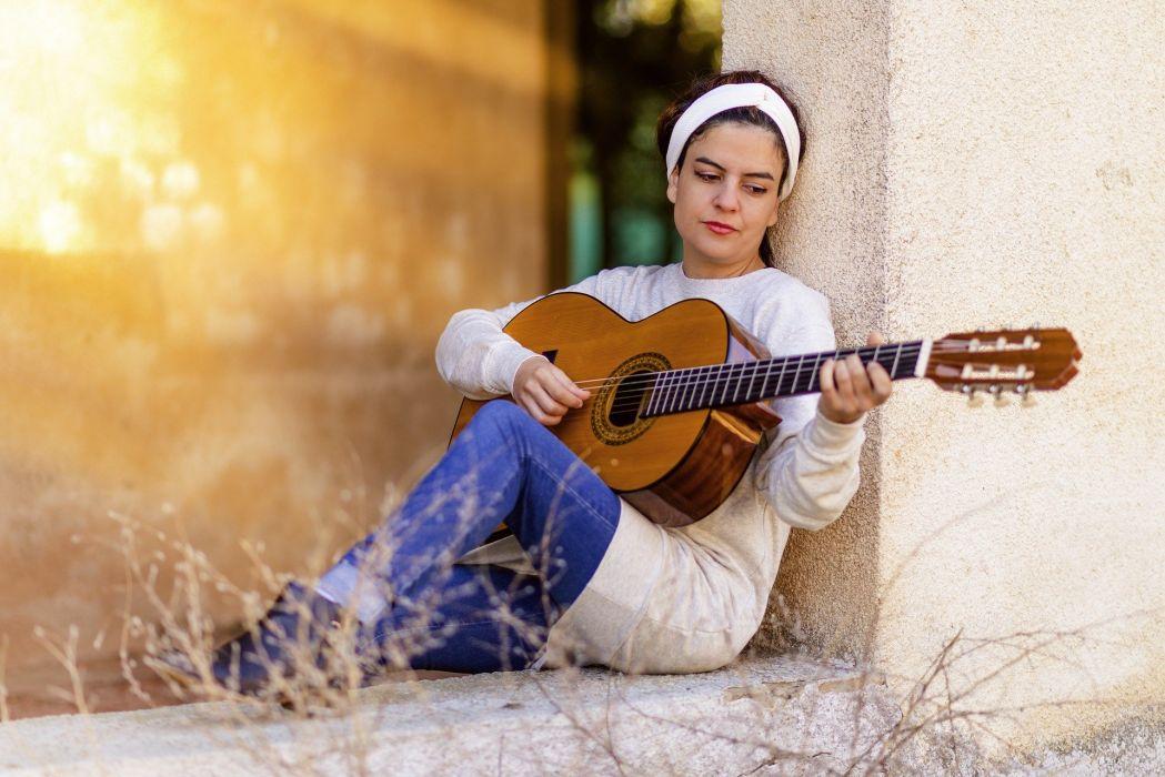 Girl Guitar Music Instrument Spanish Guitar mood wallpaper