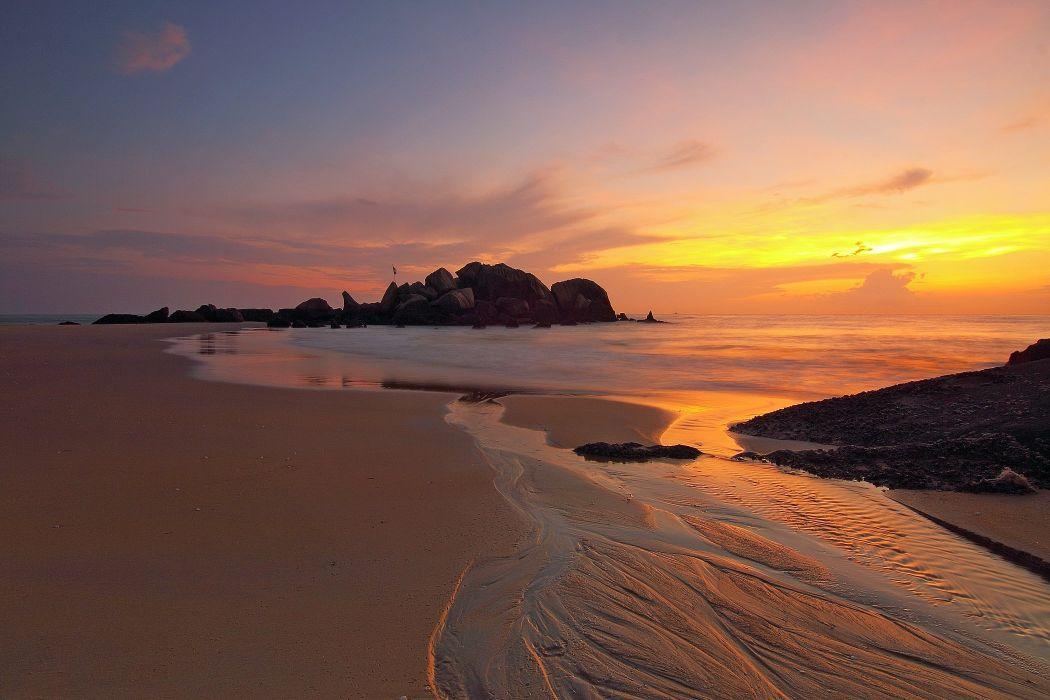 Sunrise beach ocean sea wallpaper