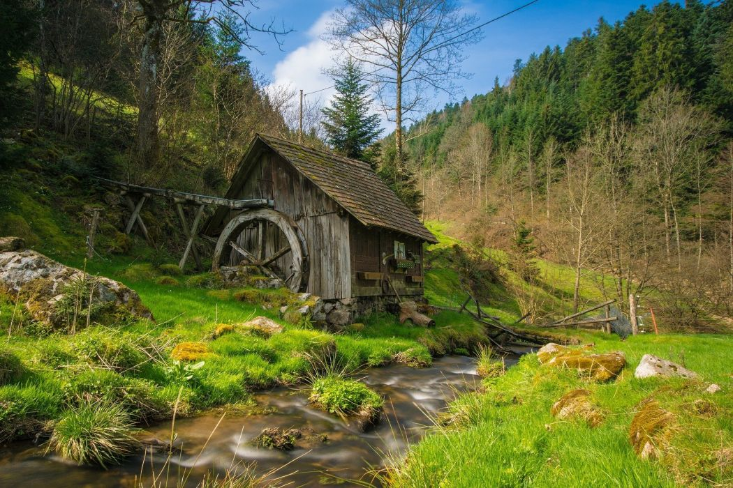 Mill Black Forest Bach Water Forest Landscape wallpaper