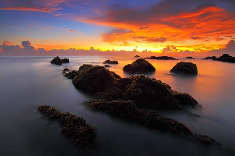 Seascape Sunrise Sea ocean wallpaper