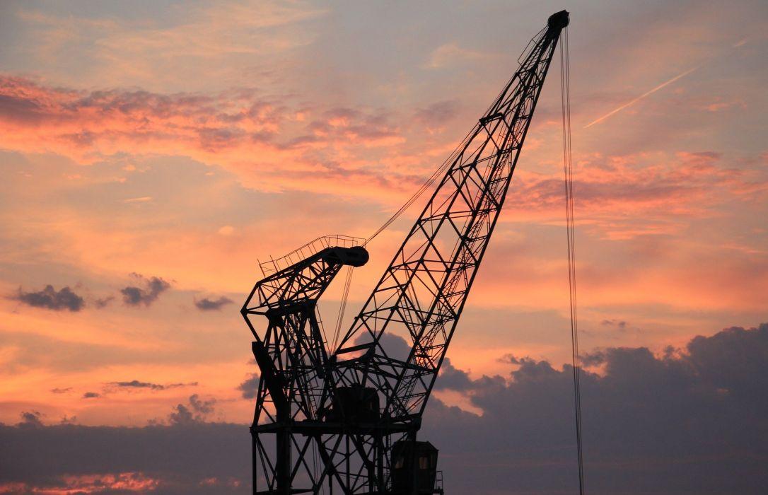 Harbour Crane Sunset Sky Clouds Industry Port wallpaper