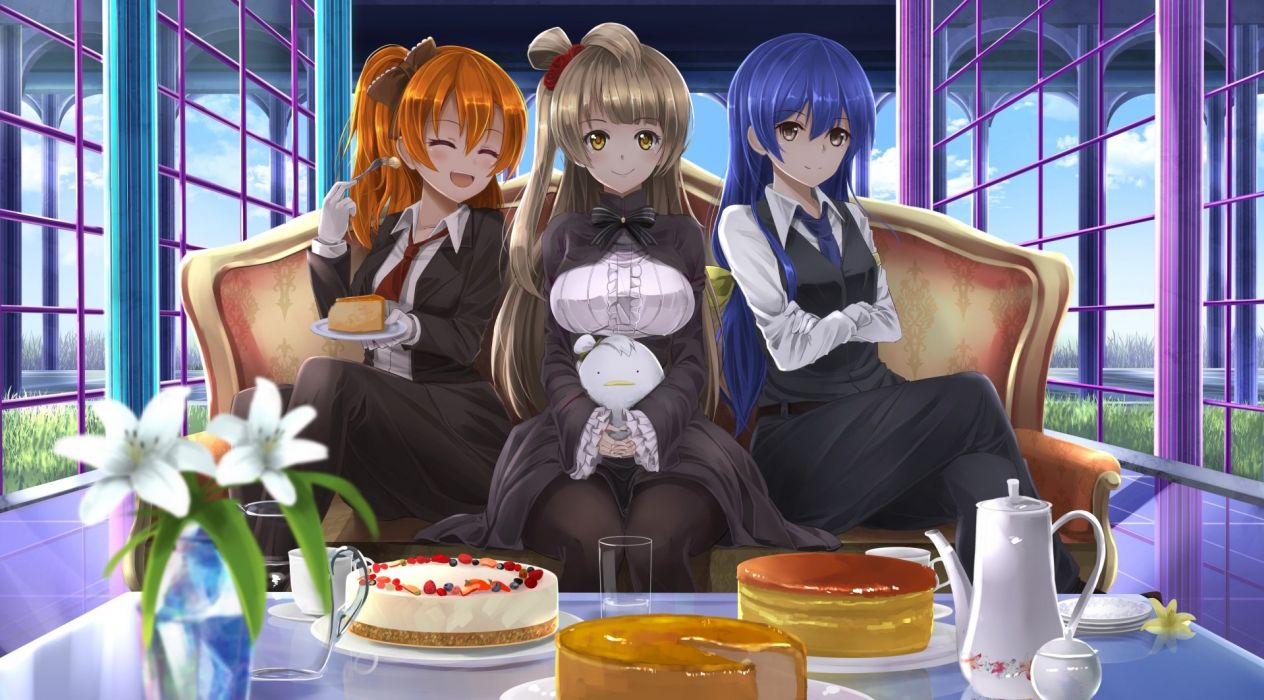 aliasing cake food kousaka honoka love live! school idol project minami kotori orein sonoda umi tagme wallpaper