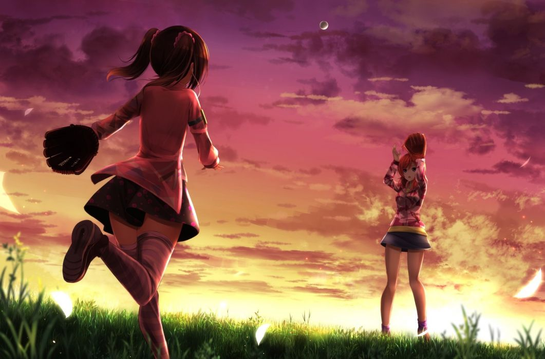 Girls Ball Baseball Clouds Grass Love Live School Idol Project Nishikino Maki Orein Purple Eyes