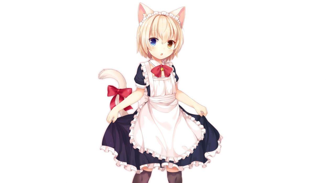 aliasing animal ears bell bicolored eyes blonde hair blush bow catgirl collar headdress loli maid short hair skirt lift tail thighhighs white wallpaper