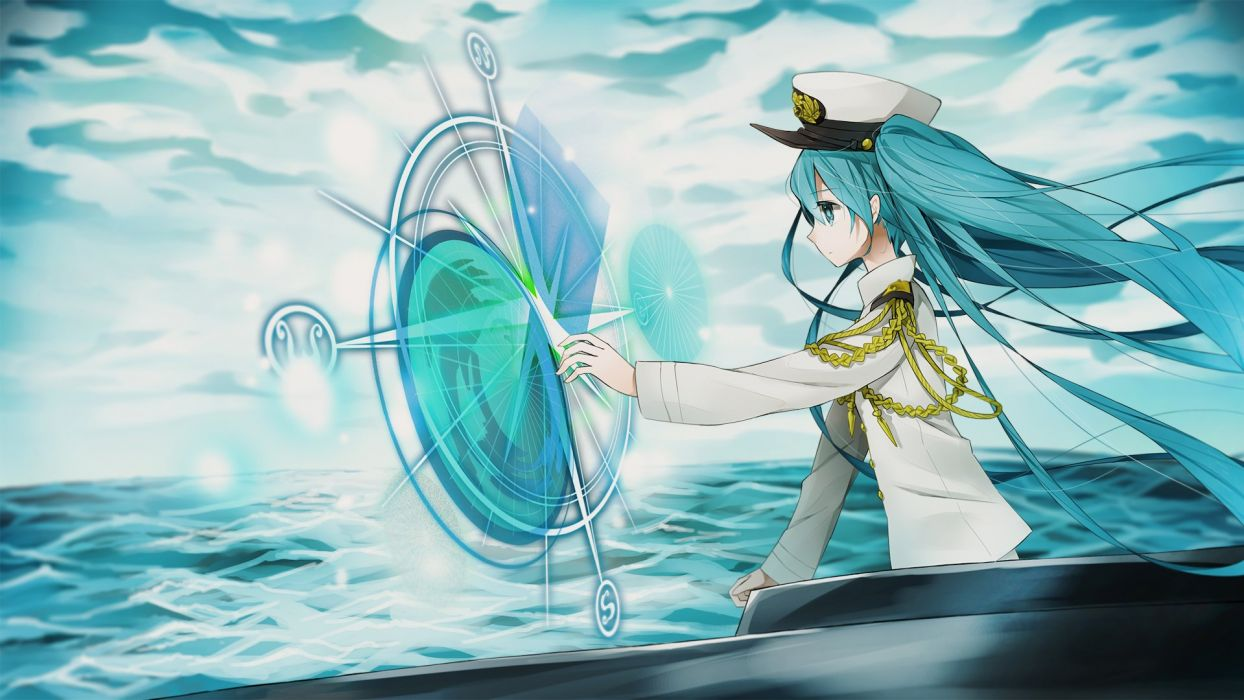 aqua eyes aqua hair clouds hat hatsune miku long hair marchen noir military sky twintails uniform vocaloid water wallpaper