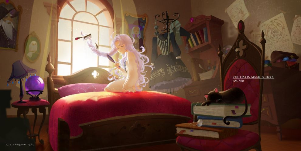 animal bed book cat gray hair long hair lost elle magic music original see through signed wallpaper