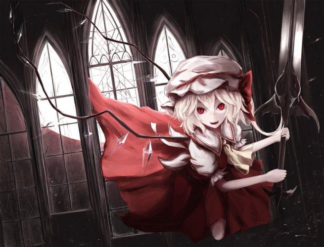 blonde hair bow building dress flandre scarlet hat moosu193 red eyes touhou vampire weapon wings wallpaper