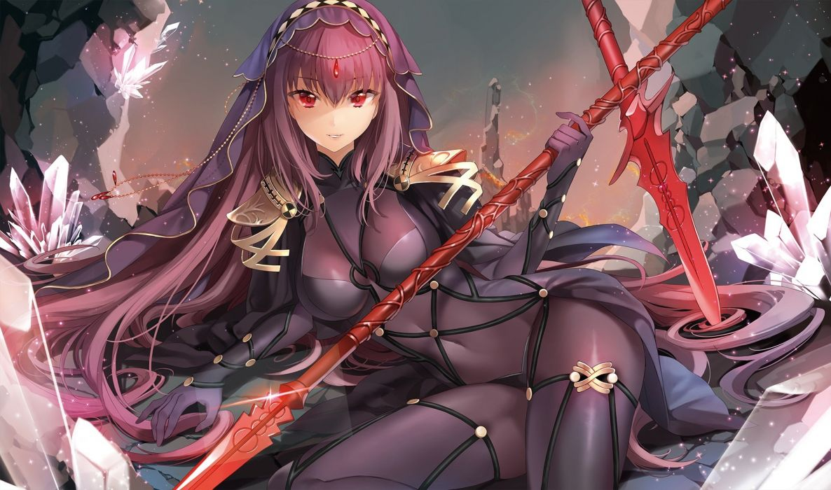 bodysuit fate grand order fate (series) gloves headdress ice (ice aptx) long hair purple hair red eyes skintight spear sword weapon wallpaper