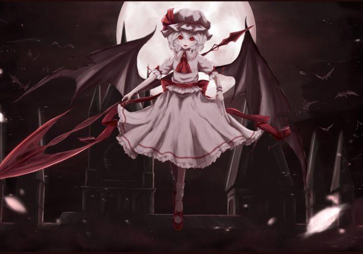 animal bat bow dress hat moon moosu193 night red eyes remilia scarlet ribbons short hair touhou vampire wings wallpaper