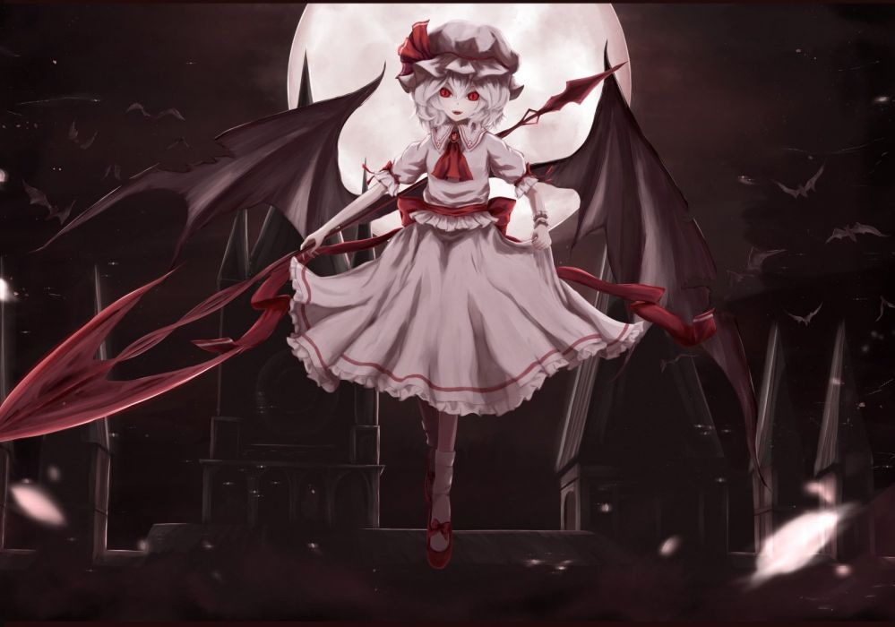 animal bat bow dress hat moon moosu193 night red eyes remilia scarlet ribbons short hair touhou vampire wings wallpaper
