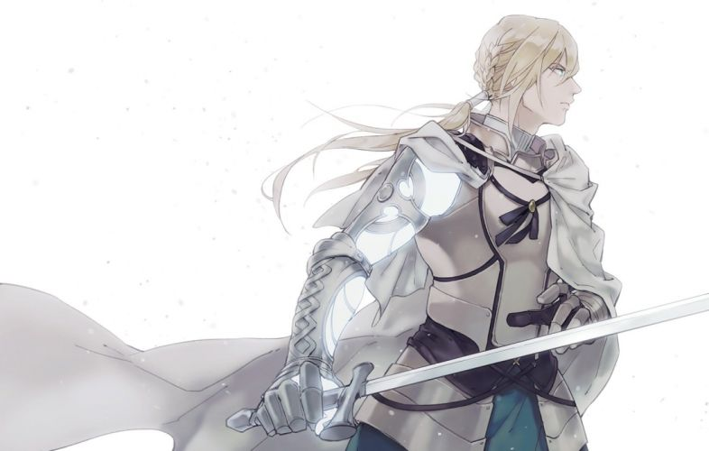 male aqua eyes armor bedivere blonde hair braids cape fate grand order fate (series) gloves himishiro long hair male ponytail sword weapon white wallpaper