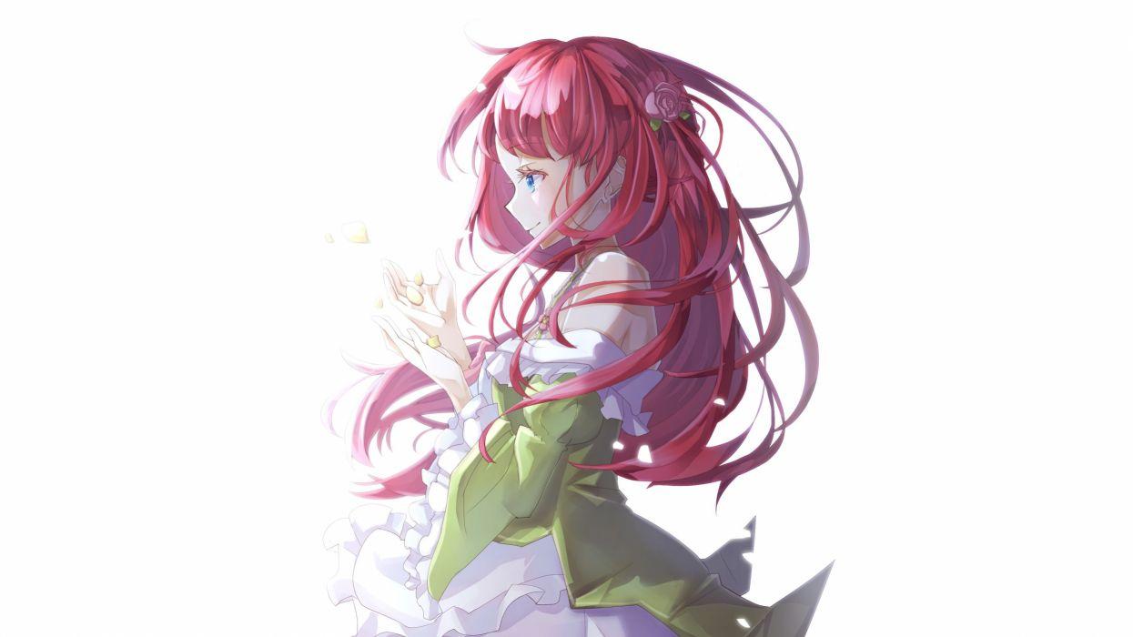 aqua eyes dress long hair petals red hair re-zero kara hajimeru isekai seikatsu thearesia van astrea white yuzouni wallpaper