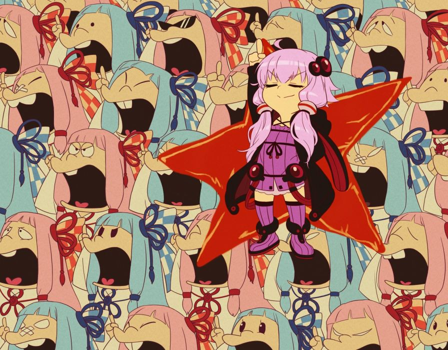 aqua hair bandage boots dress hoodie kotonoha aoi long hair pink hair purple hair sunglasses thighhighs twintails vocaloid voiceroid yuzuki yukari wallpaper