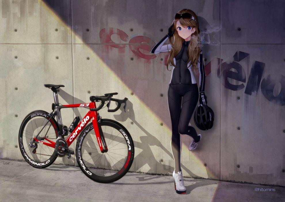 bicycle brown hair glasses hitomi kazuya long hair original skintight wallpaper