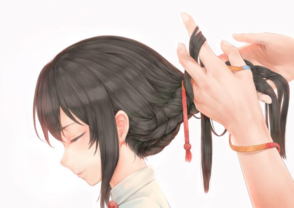 black hair braids close kimi no na wa long hair miyamizu mitsuha ponytail white yomena wallpaper