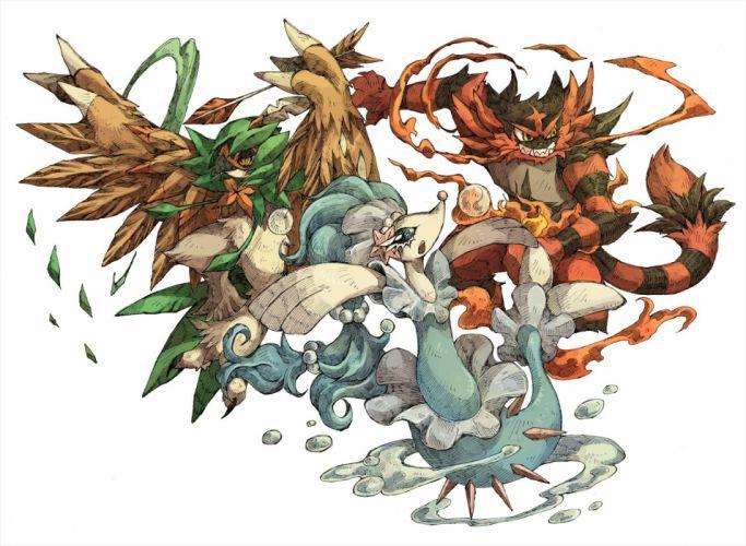 decidueye incineroar nekogarasu pokemon primarina sketch white wallpaper