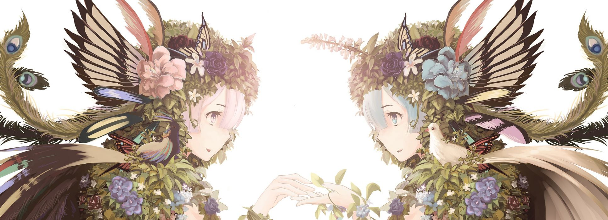 girls animal bird blue hair butterfly close feathers flowers leaves myrt1e pink hair ram (re-zero) rem (re-zero) rose twins wallpaper