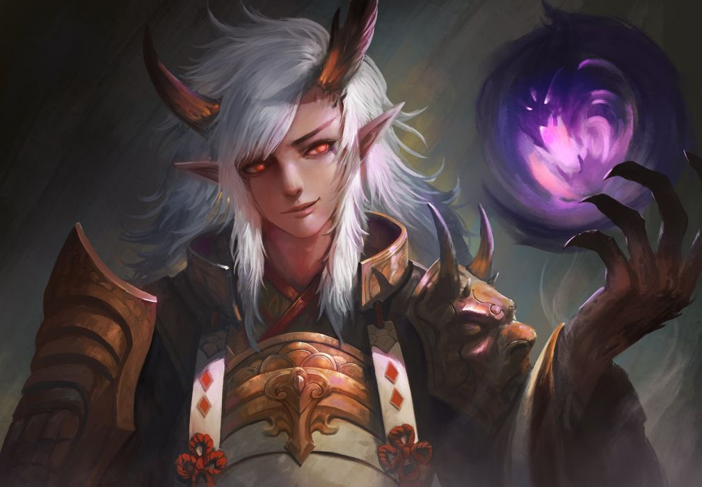male armor demon horns ibaraki douji (onmyouji) kaze no gyouja long hair magic male onmyouji pointed ears realistic red eyes samurai white hair wallpaper