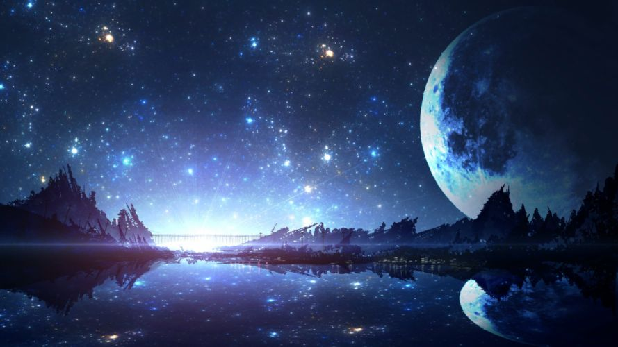 moon night nobody original reflection scenic smile (qd4nsvik) stars sunset tree water wallpaper