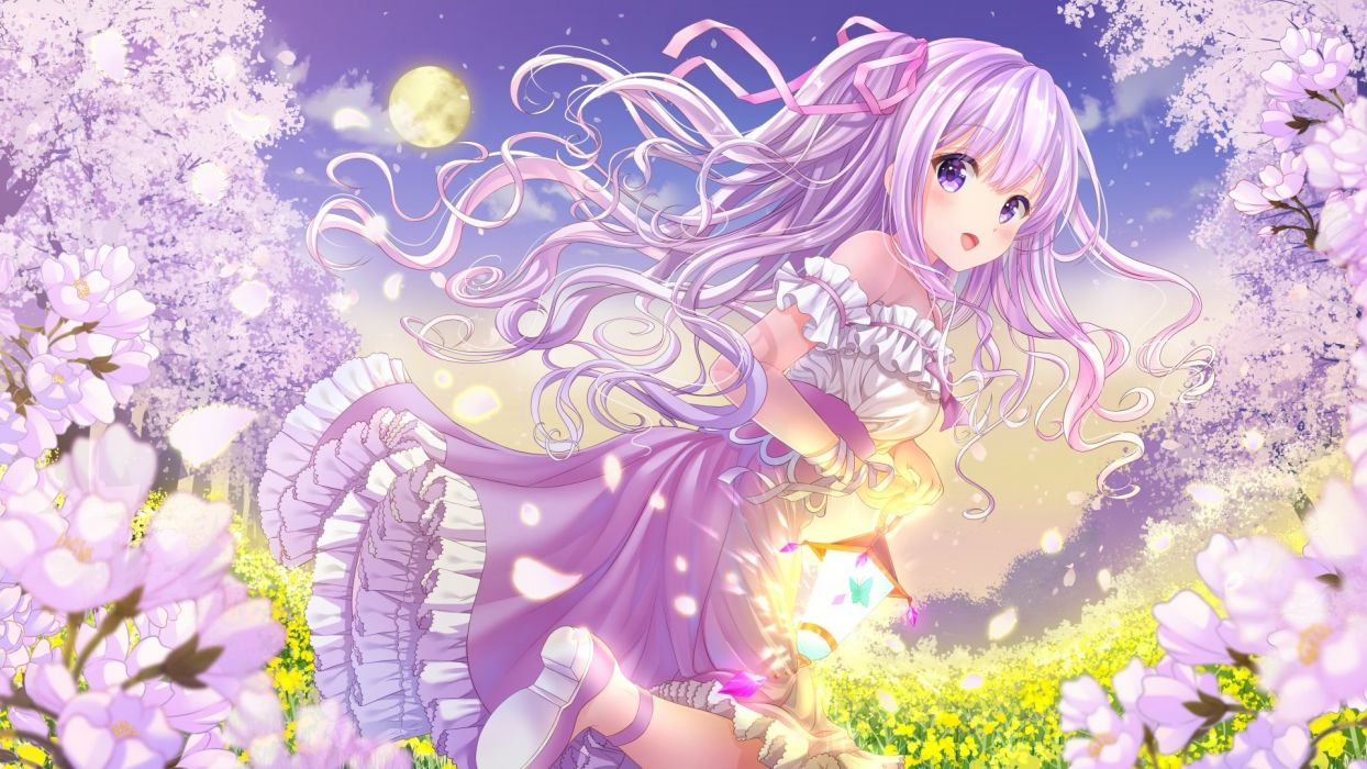 aliasing blush butterfly clouds dress flowers long hair momo moyon moon original petals purple eyes purple hair ribbons wallpaper