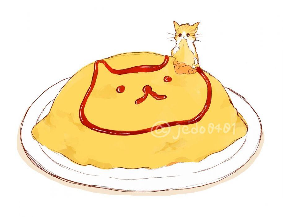 animal cat food hakuchizu (jedo) nobody original signed waifu2x white wallpaper