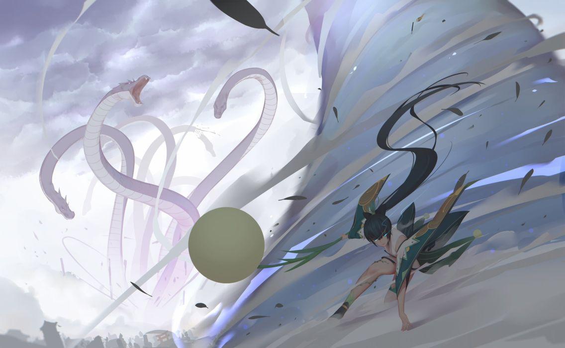aqua eyes black hair clouds dragon long hair magic maredoro ponytail sky torii wallpaper