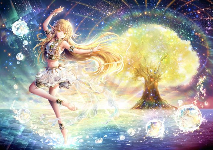 barefoot blonde hair bubbles garter halodark headdress long hair navel original rainbow skirt sky stars tree water wristwear yellow eyes wallpaper