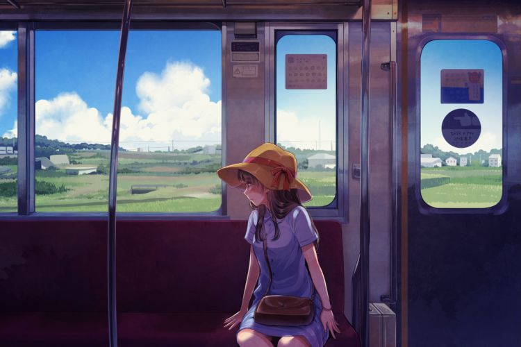 black hair bow clouds dress hat long hair original scenic suzuhara cm train wallpaper