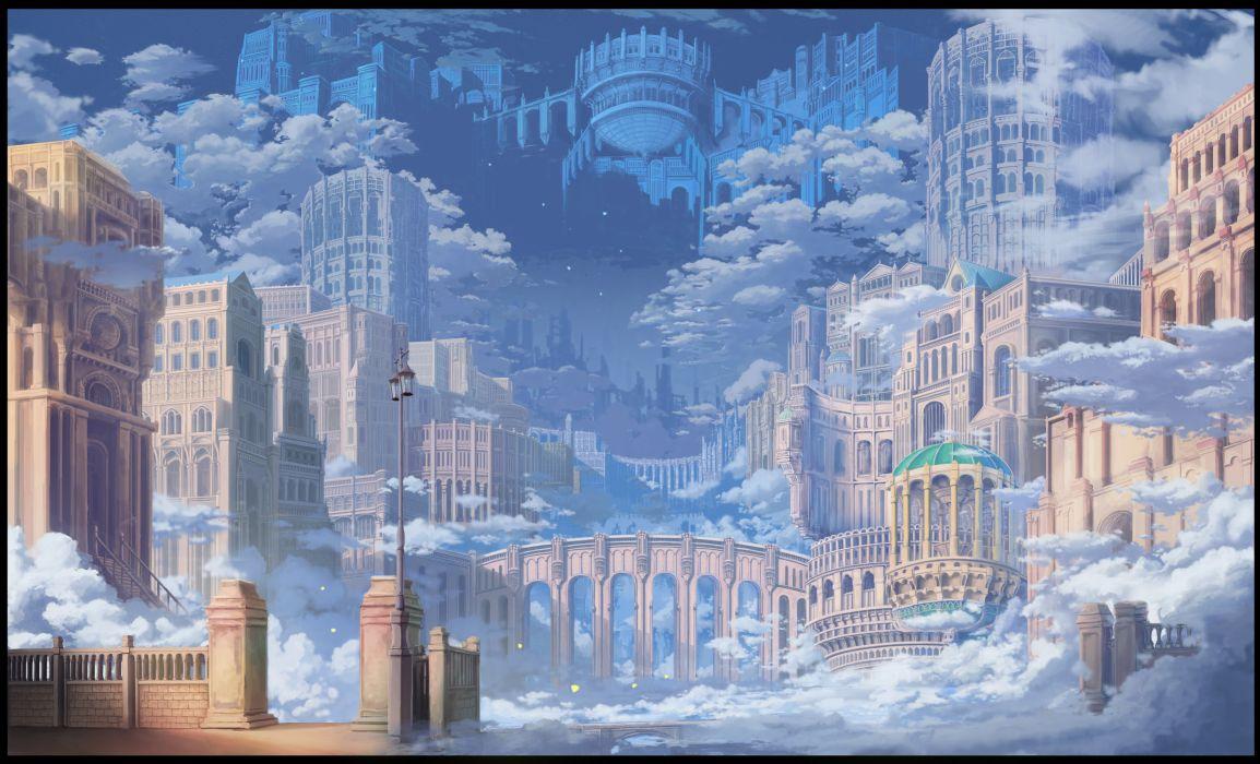 building city clouds nobody original scenic sky stars suna yosshii wallpaper