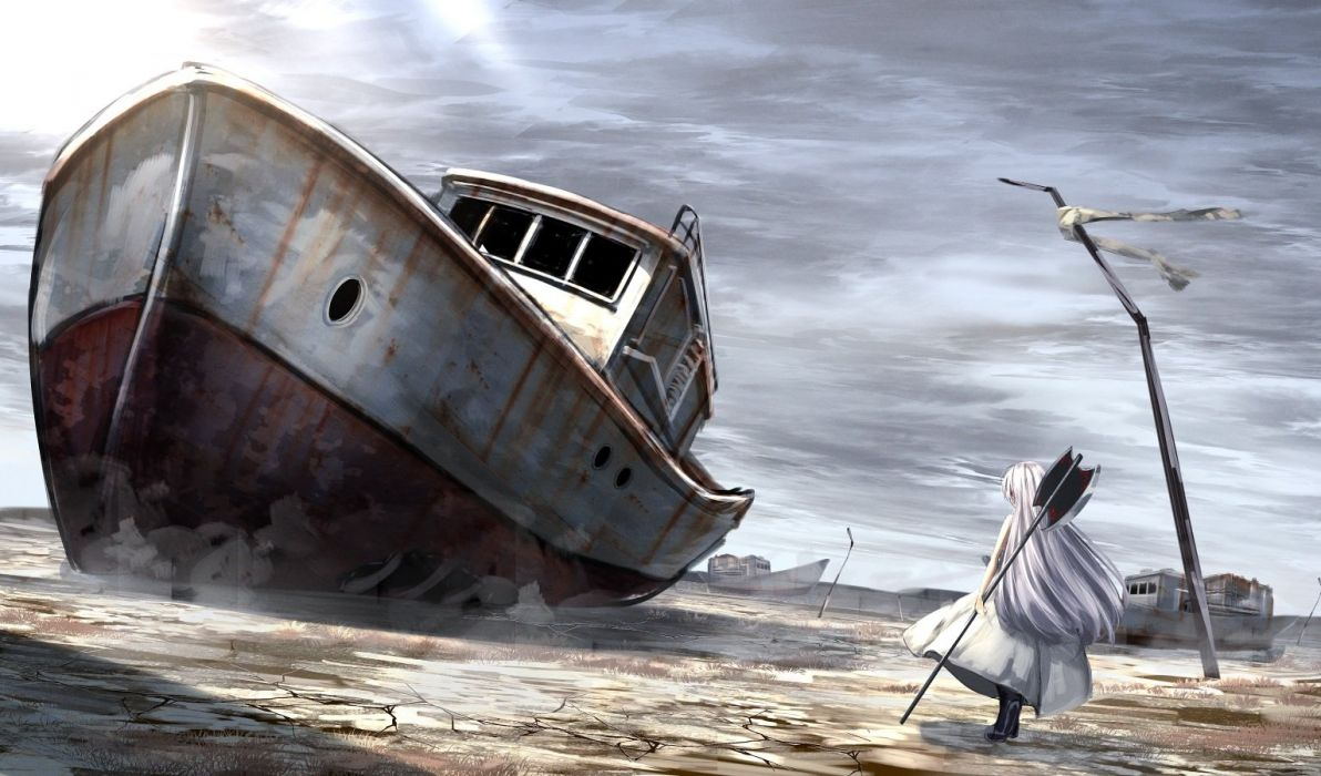 aliasing boat building dress long hair original ruins ryosios weapon white hair wallpaper