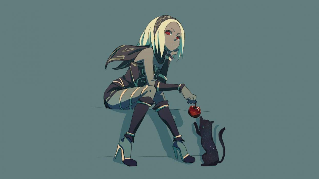 animal apple blonde hair cat food fruit gravity daze kat (gravity daze) red eyes scarf tagme (artist) wallpaper