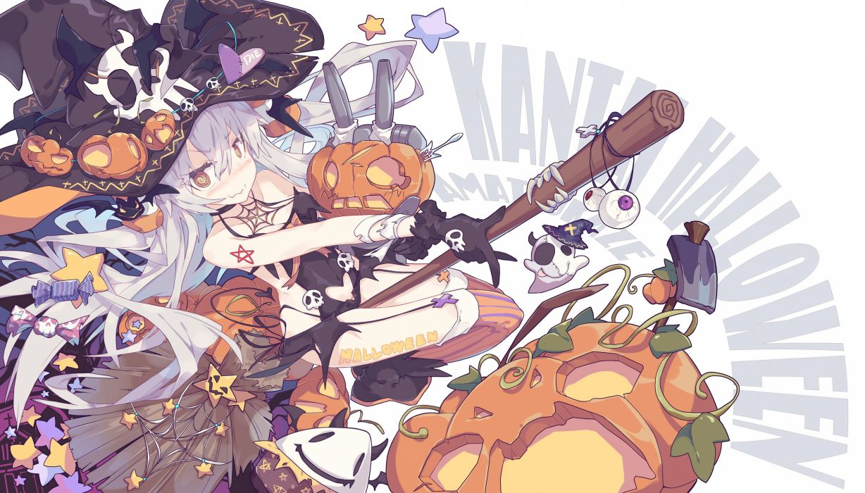 aliasing blush bodysuit breasts candy cleavage gloves gray hair halloween hat litsvn long hair pumpkin signed stars stockings tattoo witch witch hat wallpaper