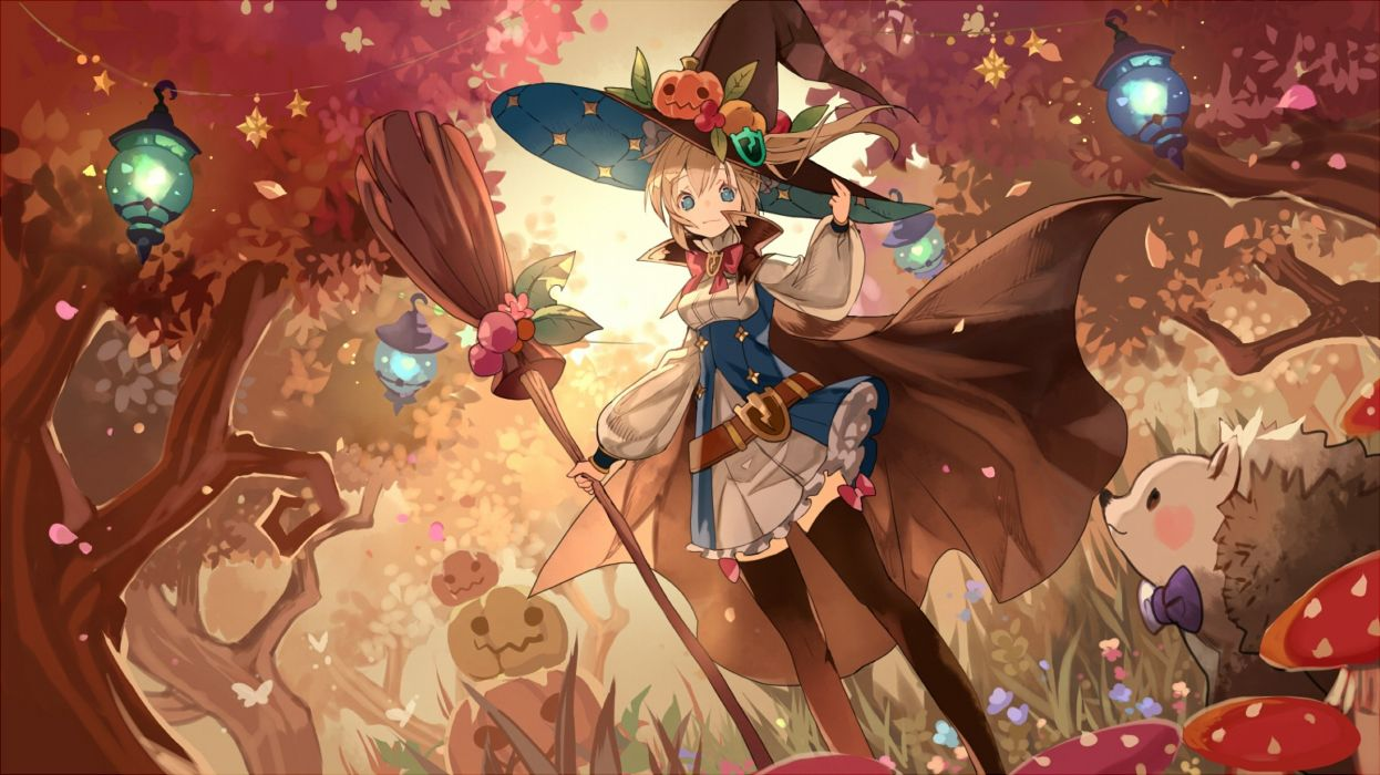 animal aqua eyes blonde hair bow butterfly cape dress forest grass halloween hat leaves original ponytail pumpkin thighhighs tree waifu2x witch hat wallpaper