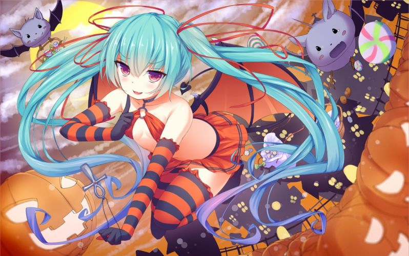 animal aqua hair bat blush breasts candy cross gloves halloween long hair necklace papino pumpkin ribbons skirt tail twintails vocaloid wings wallpaper